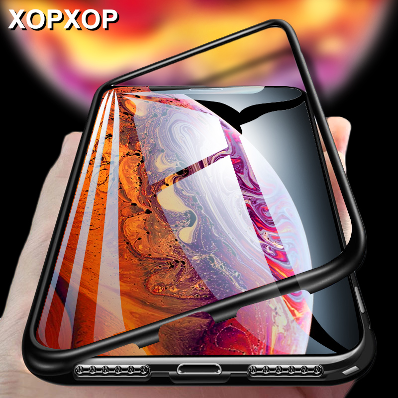 Magnetic Adsorption Metal Case For On iPhone X XR XS MAX Back Magnet Cover For iPhone 6 6s 7 8 Plus Full Protection Case Coque iphone xr case magnetic