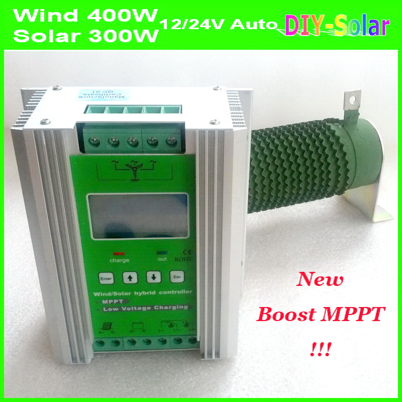 MPPT Wind Solar Hybrid Charge Controller boost charging 800W 600W 400W wind turbine generator & 400W 300W solar panel controller free shipping 600w wind grid tie inverter with lcd data for 12v 24v ac wind turbine 90 260vac no need controller and battery