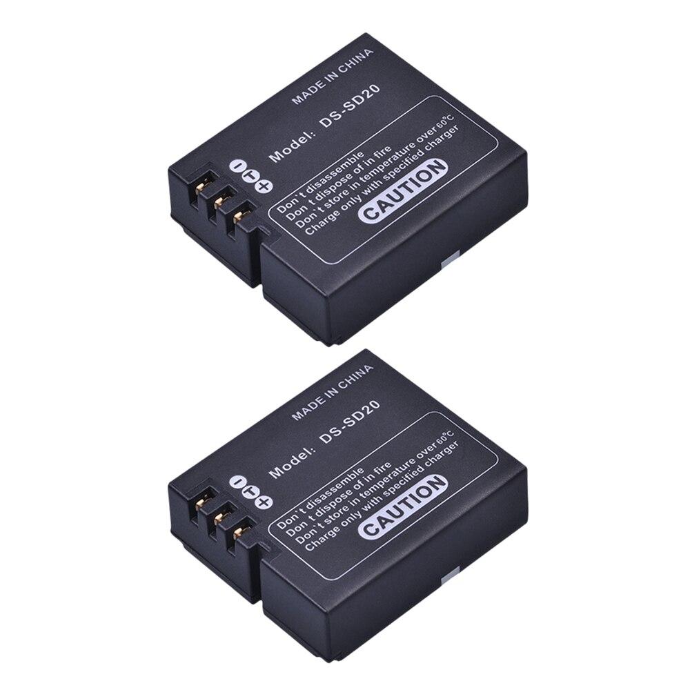 2 piezas DS-SD20 SD20 DS SD20 baterías para AEE MagiCAM SD18 SD19 SD20 SD21 SD22 SD23 SD30 Rollei 3 S cámaras de deportes de acción