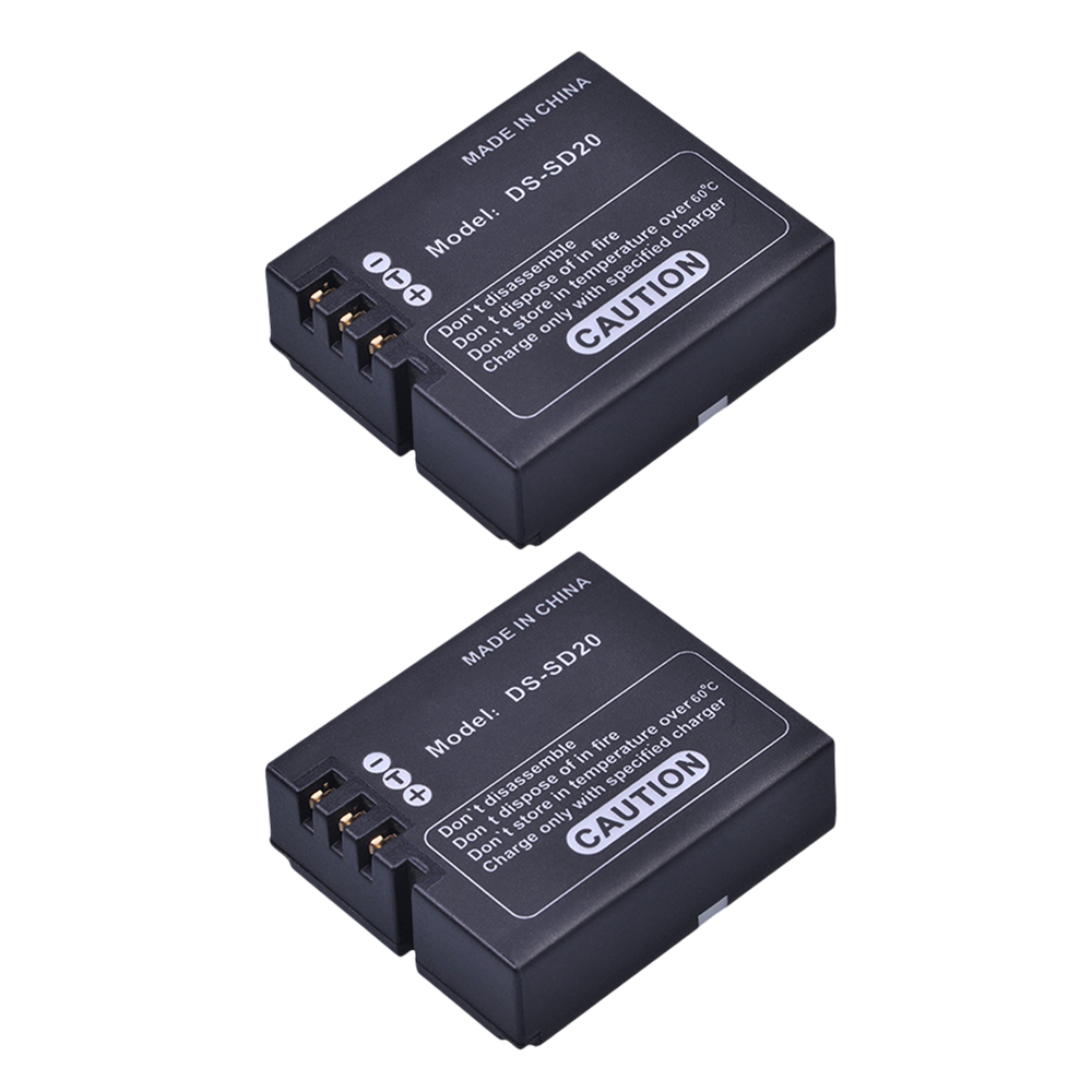 2Pcs DS-SD20 SD20 DS SD20 Batteries For AEE Magicam SD18 SD19 SD20 SD21 SD22 SD23 SD30 Rollei 3S Action Sports Cameras