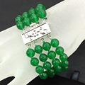 Lovely malaysia green jade 8mm round beads jasper 4 rows silver plated clasp chain bracelet jewelry 7.5inch B1519