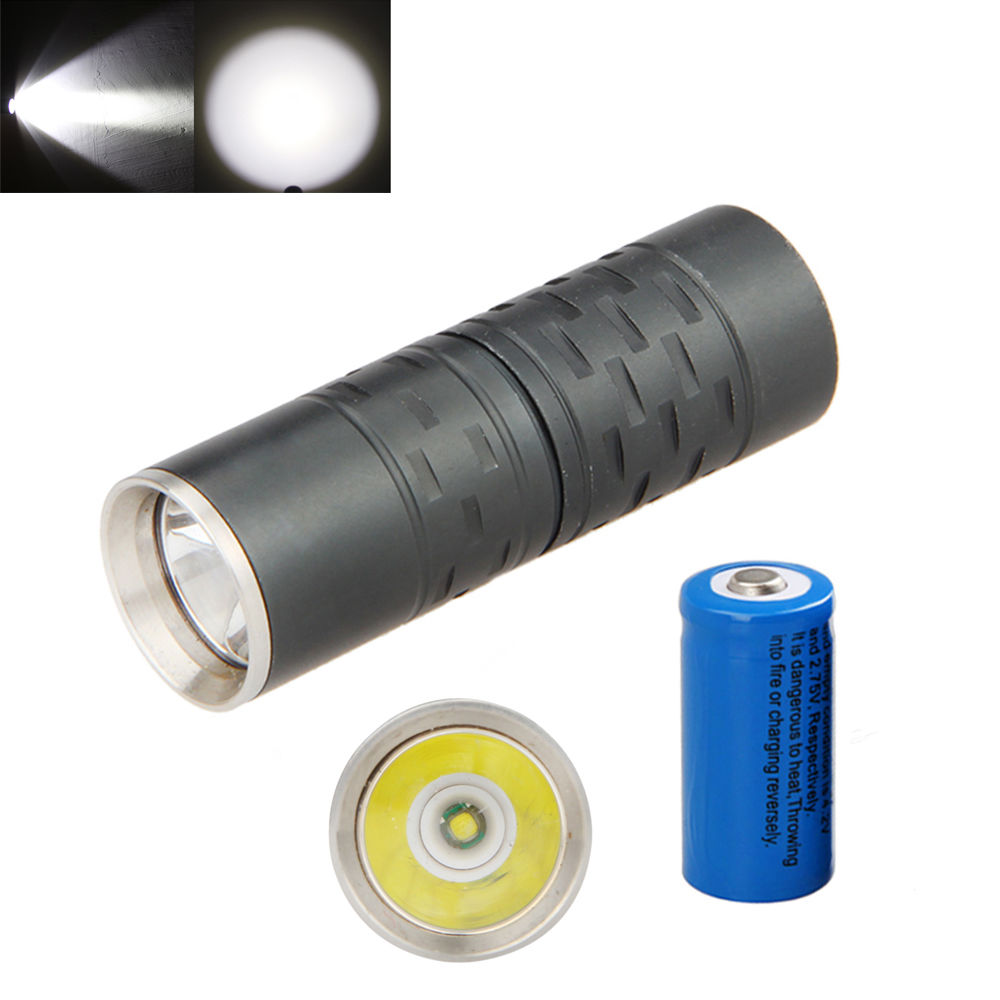 Dark Grey 800LM R5 LED Mini Portable Small Exquiside Flashlight Torch 16340 Keychain Lamp  1 Mode