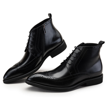 Fashion black /brown tan oxfords shoes mens ankle boots genuine leather dress shoes mens formal shoes