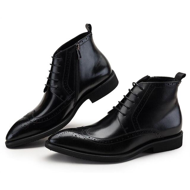 32123c3577d Moda negro/bronceado Oxfords botas de tobillo para Hombre Zapatos de vestir  de cuero genuino
