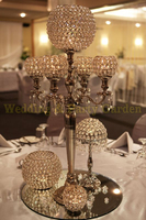 Silver wedding candelabra 5 arms crystal candle holder with big crystal balls flower stand wedding decoration 10 pcs/lot