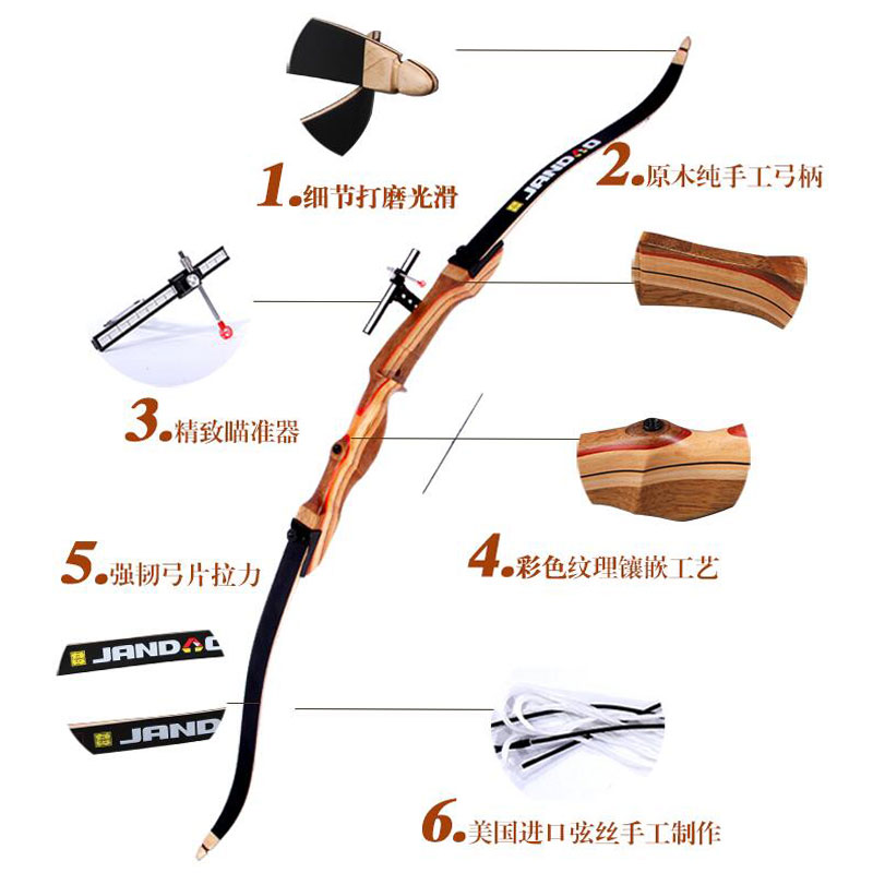 Image 5 - 1Set 68inch 24 40lbs Archery Recurve Bow Right Hand Composite Fiber Laminated Handmade Bow Handle Hunting Shooting Accessories-in Bow & Arrow from Sports & Entertainment