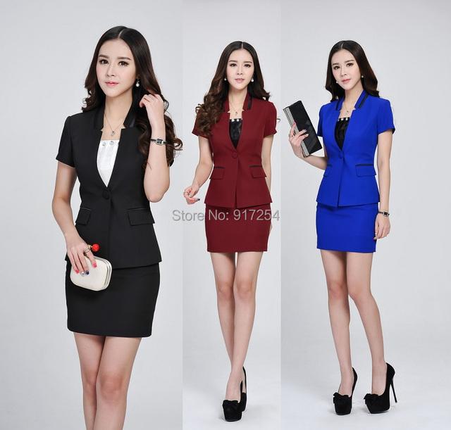 Primavera Verão 2015 nova Professional Business Suits Jaquetas E Saia Do Escritório Estilo Uniforme de Trabalho Desgaste Blazers Roupas Plus Size