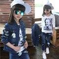 Primavera otoño niños Del Estilo que arropan Chica pantalones vaqueros traje Azul chaqueta de Mezclilla + Jean pant 2 unidades set For Kids Wear a 2 ~ 12 Año