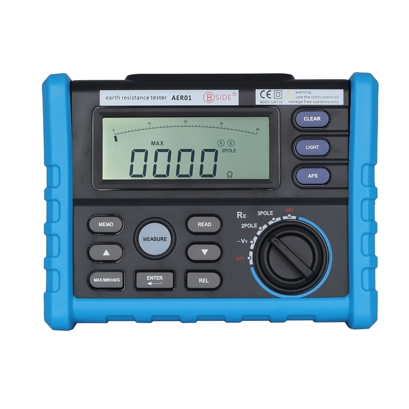 AER01 0-4K ohm Professional Digital Ground Earth Resistance Tester Meter 99 Groups Data Logging Display 9999 Counts with Backlit fenix aer 03
