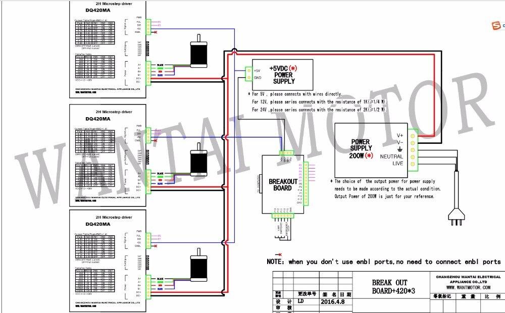 Новое поступление! Wantai 3 оси Nema 17(Национальная ассоциация владельцев электротехнических предприятий) шаговый двигатель 42BYGHW208 37oz-in+ Драйвер DQ420MA 1.7A е-байка 36В 128 микро плазменной гравировки Grind