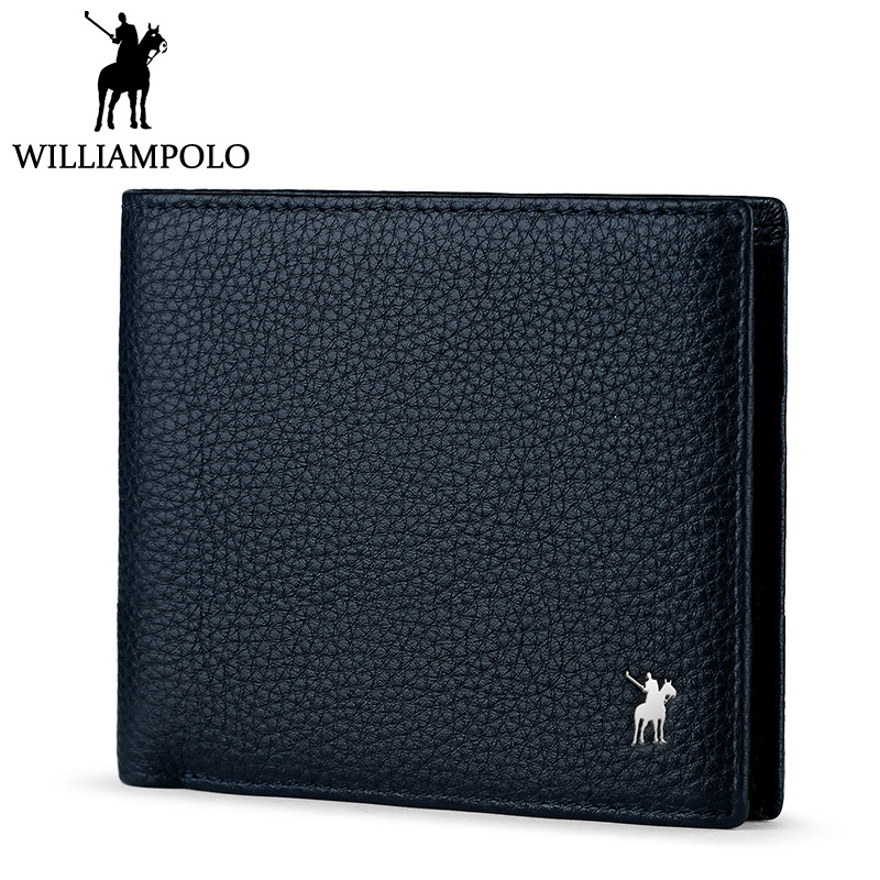 Williampolo Men's Bi-fold Wallet Genuine Leather Short Purse Slim Wallet Luxury Brand Blue Cowhide Pouch Classic 2 Folds Design