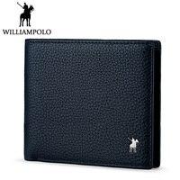 Williampolo Men's Bi fold Wallet Genuine Leather Short Purse Slim Wallet Luxury Brand Blue Cowhide Pouch Classic 2 Folds Design