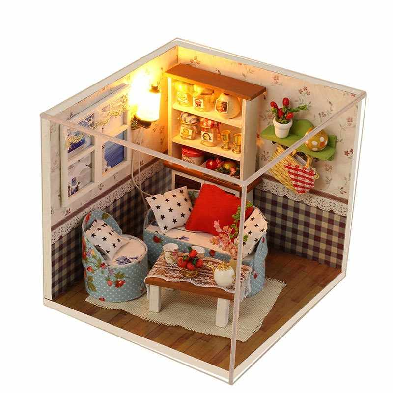 ZWX012 DIY doll houses custom mini warm living room villa model assemblys 3D Miniaturas doll houses children's educationals toys