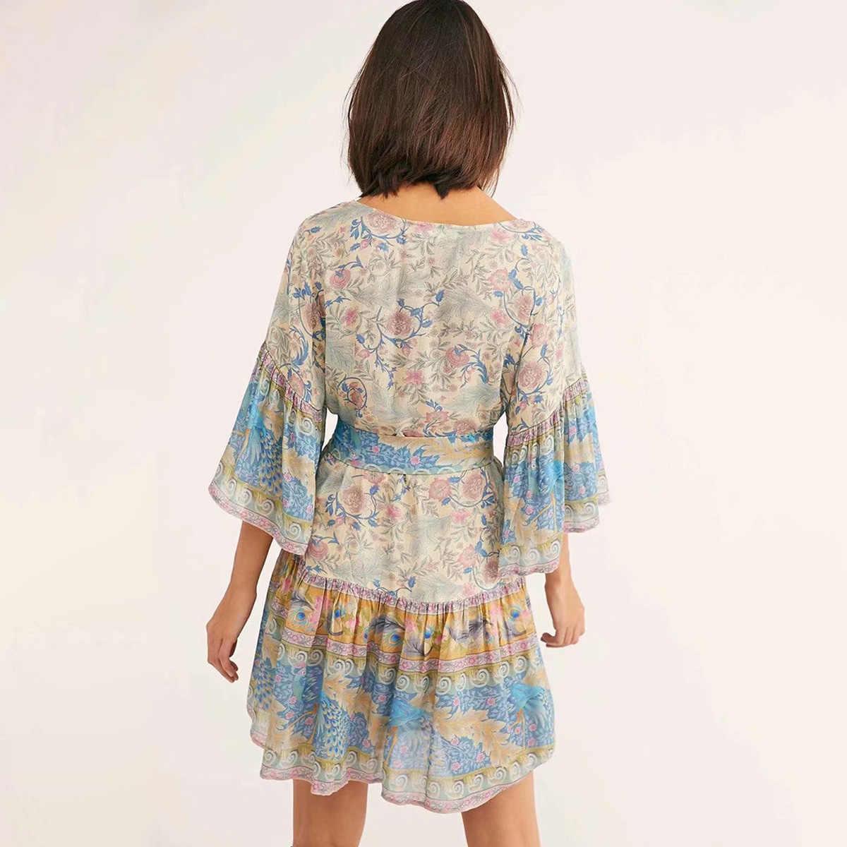 9a80f188f7aa ... Oasis Mini Dress V-Neck Short Sleeve Summer Dresses Boho Beach Floral  Print Dress Casual