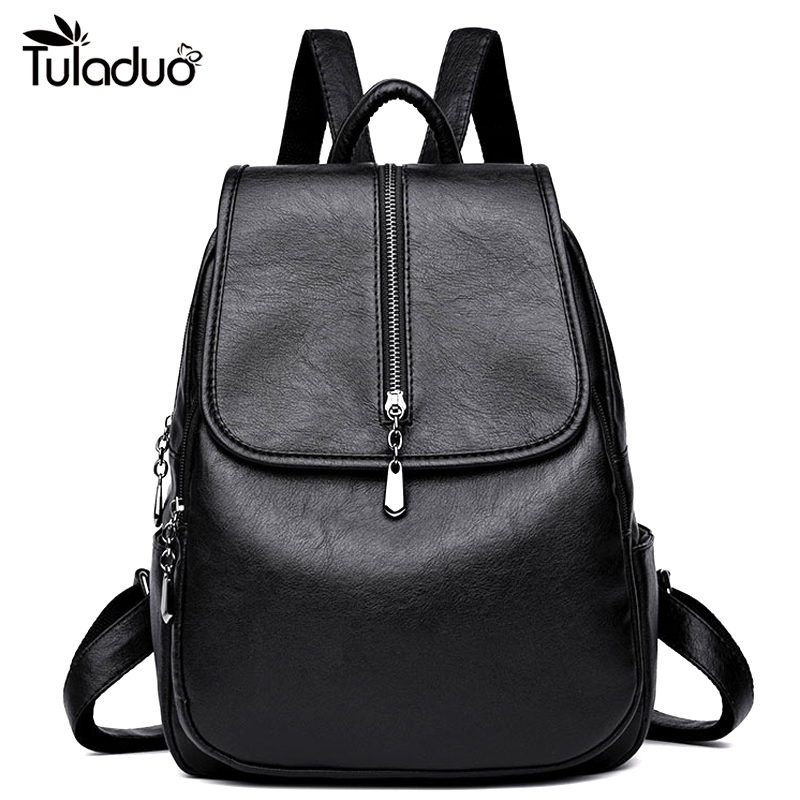 Soft Leather Backpacks for Teenage Girls School Backpack Women Casual Laptop Backpack Female With Silt Pockets Mochila Feminina Рюкзак