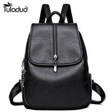 Soft Leather Backpacks for Teenage Girls School Backpack Women Casual Laptop Backpack Female With Silt Pockets Mochila Feminina