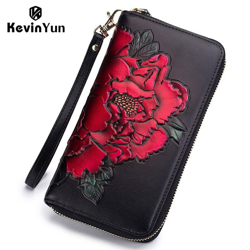 KEVIN YUN mode femmes porte-carte en cuir fendu longue fermeture à glissière sac à main grande capacité fleur imprimé dame porte-carte de crédit