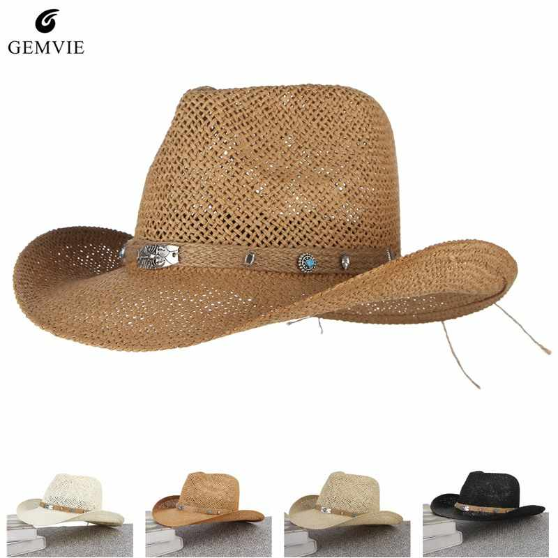 7bcc4d13b5c Western Cowboys Cap For Men Wide Brim Sun Hat Hollow Out Straw Hats With  Scorpion Belt