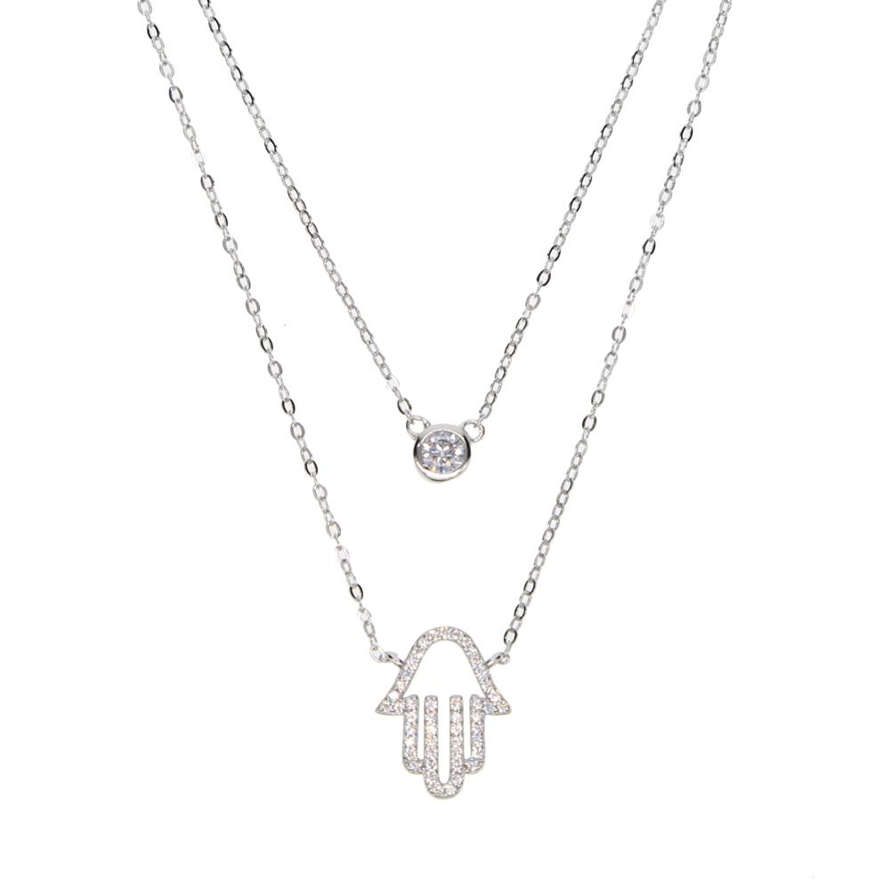 Fine CZ Sterling Silver Hamsa Womens Necklace