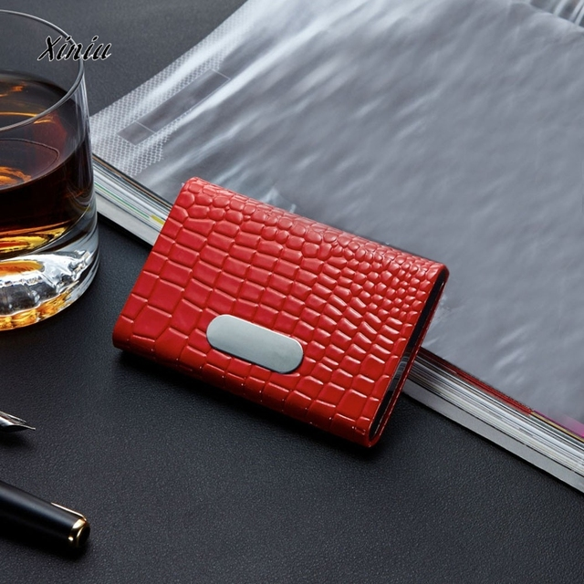 6ad34d67b62 2016 new arrival High-Grade PU leather women name Crocodile Pattern Credit Card  Package Card Holder Business Card Case Free ship