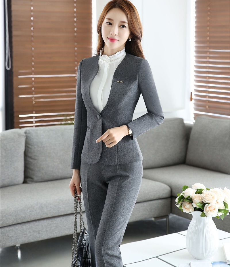 Formal Office Ladies Work Suits With Jackets And Pants Autumn Winter Professional Business Women Pantsuits Female Trousers Sets