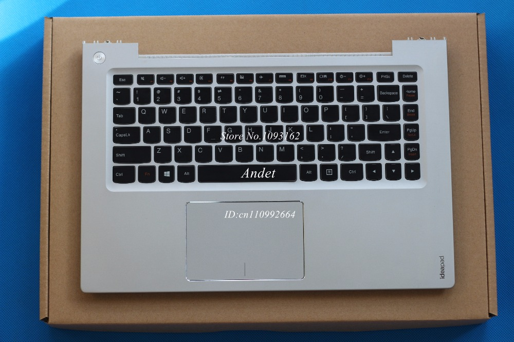 New Original for Lenovo Ideapad U430 U430P US Keyboard + Palmrest Top Upper Case with Touchpad without Backlit Silver White new palmrest upper case cover for lenovo ideapad y570 ap0hb000600 with touchpad c shell