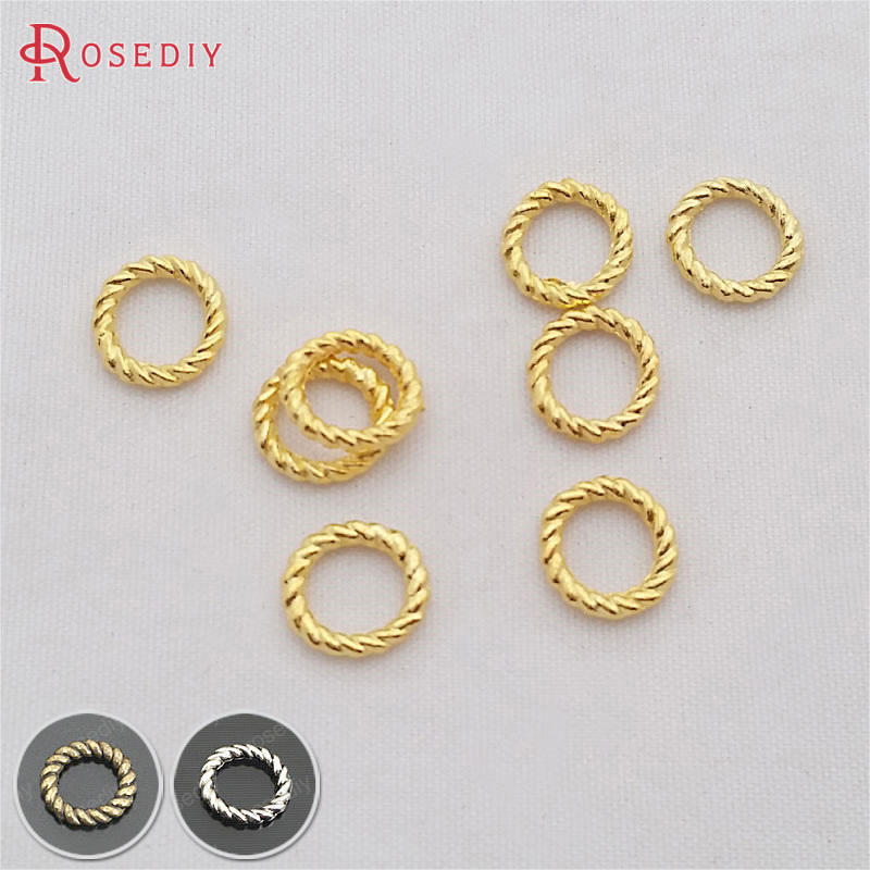(29331)100PCS Diameter 10MM Thickness 1.5MM Gold Color Zinc Alloy Twisted Closed Rings Jewelry Findings Accessories Wholesale