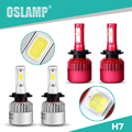 Oslamp All-in-one Automobiles Single Beam Car Led Headlight Kits H7 2pcs Led External Auto Headlight SUV COB Bulbs + Cooling Fan