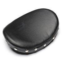 Neverland Motorcycle Rivet Sissy Bar Motor Backrest Cushion Pad For Harley Honda Custom Black Universal Synthetic