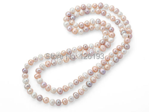 Nice  Long Style 9-10mm White Pink & Violet Colour Round Freshwater Pearl Necklace