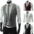 Mens Slim Fit Work Vest Sleeveless Jacket Black White Grey Red Plus Size Vests With Pockets Size S-XXXL 4XL 5XL