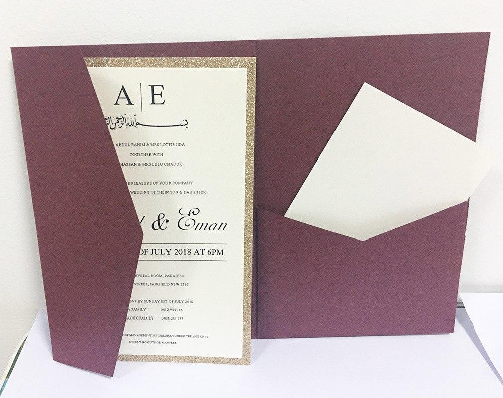 50pcs pearl burgundy plain trifold pocketfold Wedding invitation Cards three fold pocket Laser Cut invite Greeting