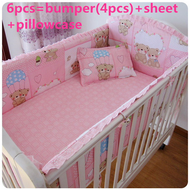 Promotion! 6PCS Pink Bear Baby Crib Bedding Set With Bumper ,Good Cotton Baby Crib Bedding (bumpers+sheet+pillow Cover)