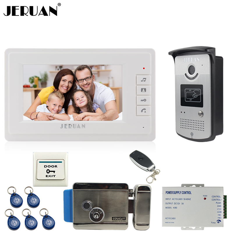 JERUAN Wired 7 inch color Video Door Phone Intercom Doorbell 1 Camera 1 Monitor RFID Access Control Security Entry System E-lock ce emc lvd fcc commerical swimming pool ozonizer to kill bacteria