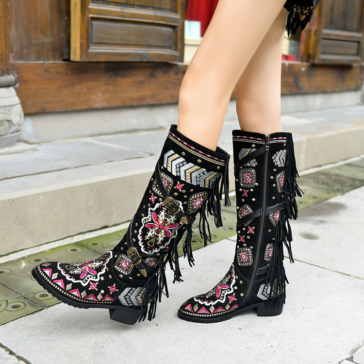 US4-11 Womens Knee Thigh High Boots Embroider Floral Tassels Shoes Real Suede Leather Ethnic Style Belt Cowboy Plus Size