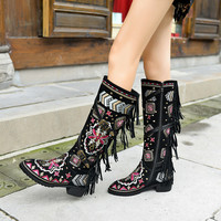 US4 11 Womens Knee Thigh High Boots Embroider Floral Tassels Shoes Real Suede Leather Ethnic Style Belt Cowboy Plus Size