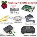 Raspberry Pi 3 XBMC KODI OSMC Media Center Комплект РФ Дистанционного Случае 16 ГБ SD Card Сетевой Кабель Корпус Вентилятора Охлаждения 5 В 2.5A Питания