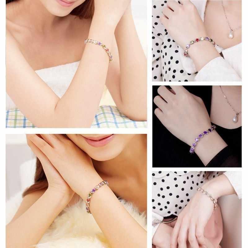 Choucong luksusowa bransoletka prawdziwe 925 srebro Mutil kolor Cz kamień wesele bransoletki dla kobiet modna biżuteria dla nowożeńców
