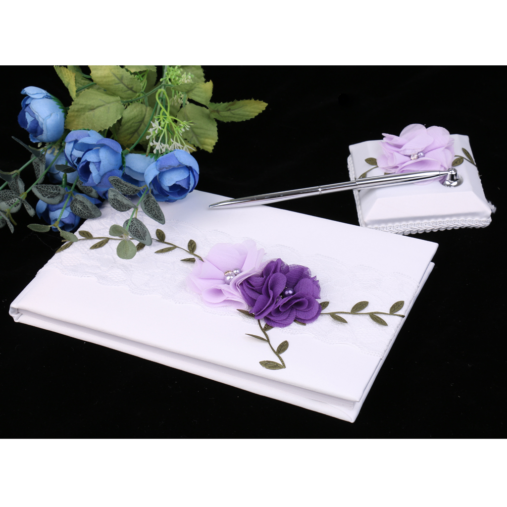 Wedding Guest Book White Lace Purple Flowers Guest Signing Book Party Decoration