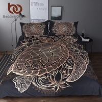 BeddingOutlet Turtles Bedding Set Duvet Animal Golden Tortoise Bed Cover Set King Sizes Flowers Lotus Home