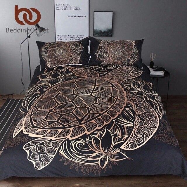 Постельные принадлежности Outlet черепахи Постельное белье duvet животного Золотая черепаха покрывало набор король размеры цветы лотоса домашний текстиль 3 шт. Роскошные