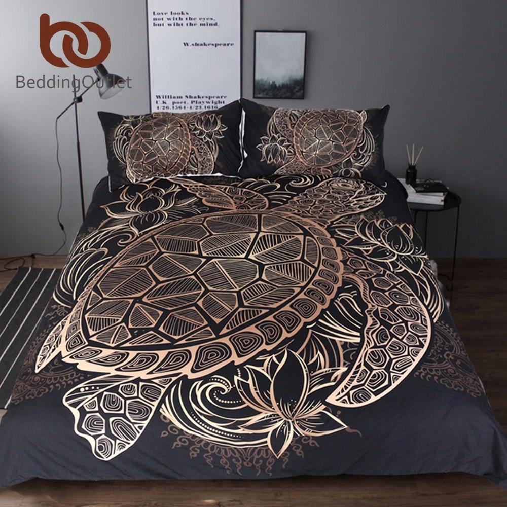 Tartarughe BeddingOutlet Biancheria Da Letto Set Piumone Animale Golden Tortoise Bed Cover Set Re Taglie Fiori di Loto Tessuti Per La Casa 3 pz di Lusso