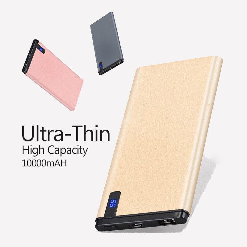 Banco de energía Delgado mAh, batería externa de polímero ultradelgada portátil de 10000 mAh con luz LED para teléfono móvil