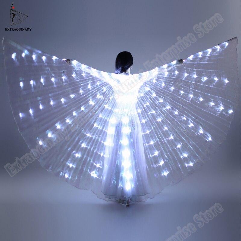 Danse du ventre Isis Ailes Angle Accessoires 360 Degrés LED Brillant Aile Ouverture Danseur Isis Colle Coloré Stade Performance Accessoire