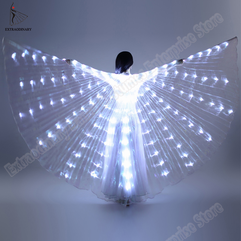 Danza del ventre Ali di Isis Angolo di Oggetti di Scena 360 Gradi LED Brillante Ala Apertura Ballerino Isis Spiedi Colorato Prestazione Della Fase Accessorio
