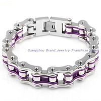 New Arrive Fashion Jewelry 316L Stainless Steel Silver And Violet Pure Handmade Bike Chain Men S