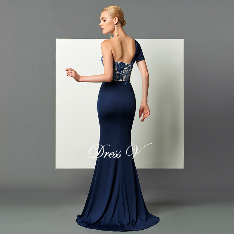 Image 2 - Dressv dark navy long evening dress split front draped sequins appliques one shoulder sweep train formal party evening dresses-in Evening Dresses from Weddings & Events