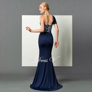 Image 2 - Dressv 다크 네이비 롱 이브닝 드레스 스플릿 프론트 드레이프 스팽글 아플리케 원 숄더 스위프 트레인 공식 파티 이브닝 드레스