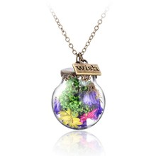 Antique Bronze Plated Real Raw Flower Wish Bottle Pendant Necklaces Round Shape Long Chain Necklaces For Women Gift