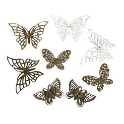 DoreenBeads D'alliage à Base de Fer Filigrane Estampage Embellissements Fixe Papillon Mixte Creux 61x47mm-43x28 mm, 40 pcs